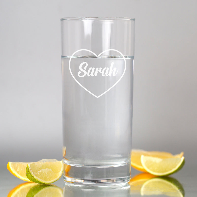 Personalised Name Heart Hi Ball Glass