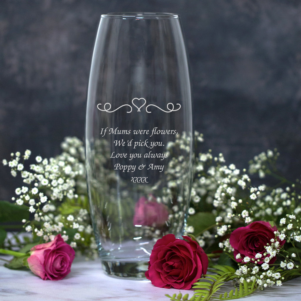 Personalised Heart and Swirls Glass Bullet Vase