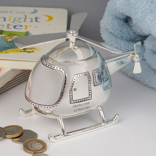 Personalised Message Silver Helicopter Money Box