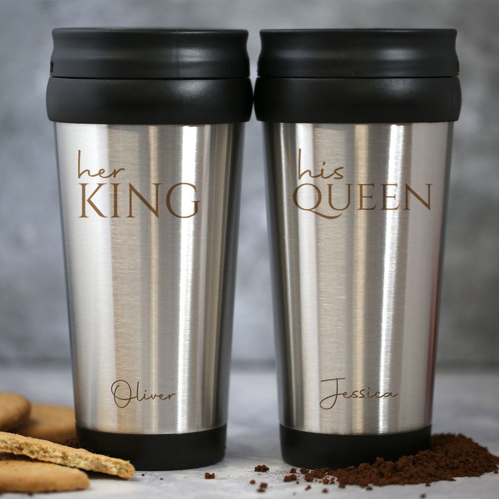 Personalised His and Her Stainless Steel Travel Mug Set
