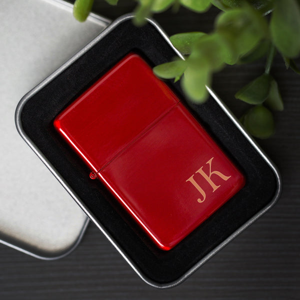 Personalised Initials Red Ice Lighter & Gift Box