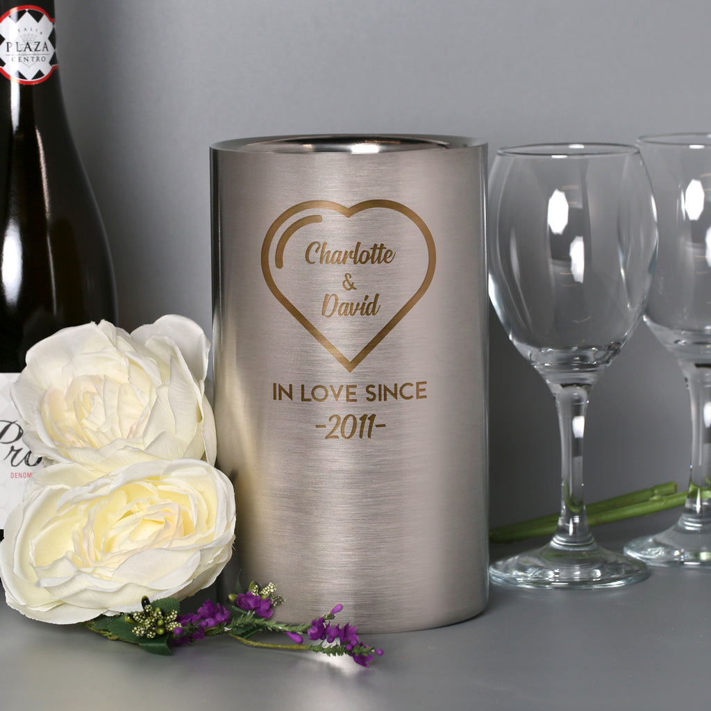 Personalised Heart In Love Since Stainless Steel Wine Cooler