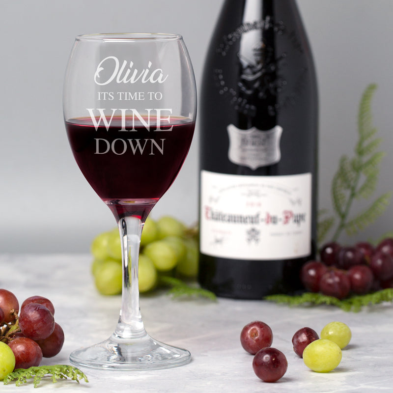 Personalised It's Time To Wine Down Wine Glass