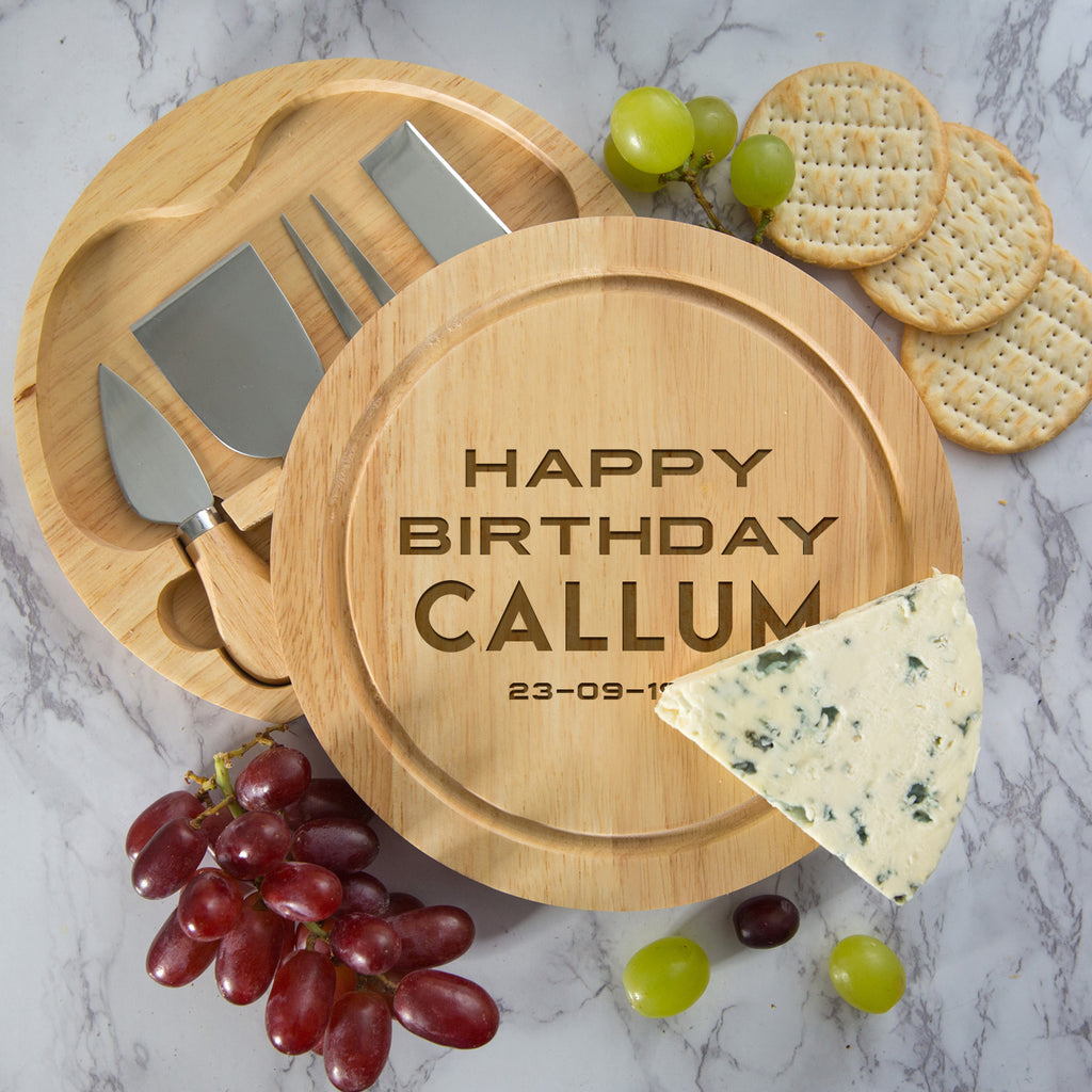 Personalised Happy Birthday Cheese Board And Knives Set