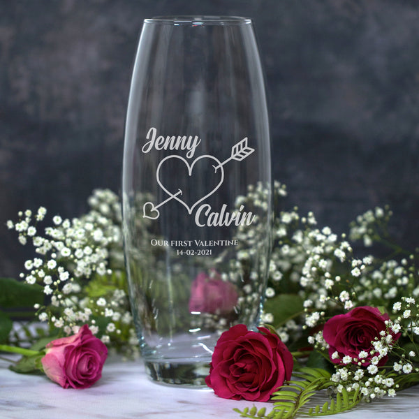 Personalised Cupid Glass Bullet Vase