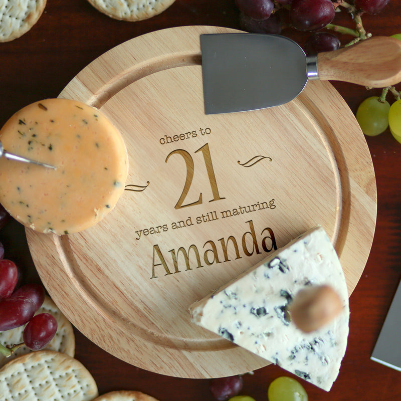Personalised Decorative Birthday Cheese Board And Knives Set