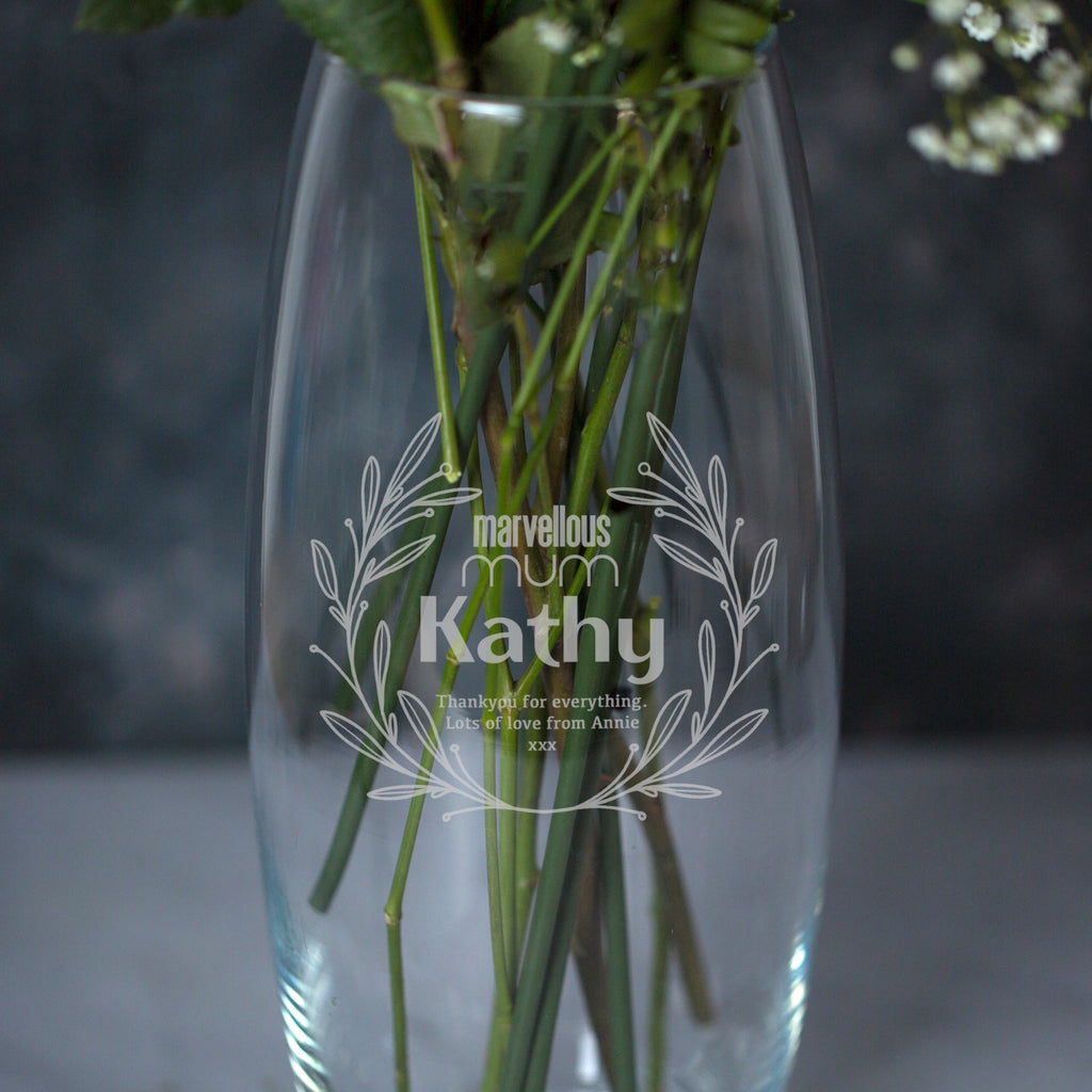 Personalised Marvellous Mum Glass Bullet Vase