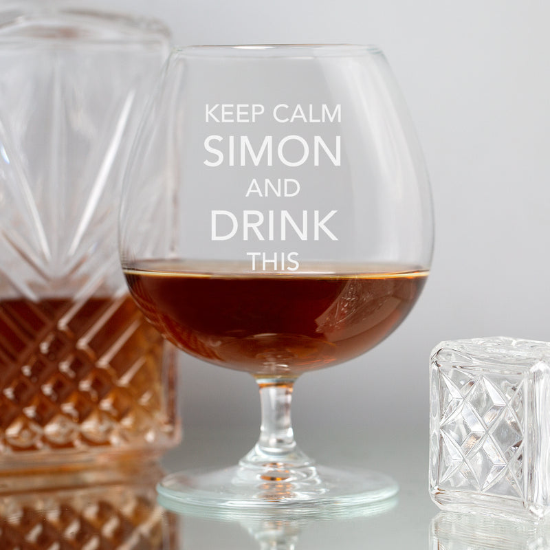 Personalised Keep Calm Brandy Glass
