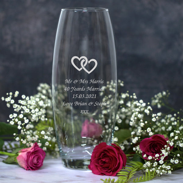 Personalised Linked Hearts Glass Bullet Vase