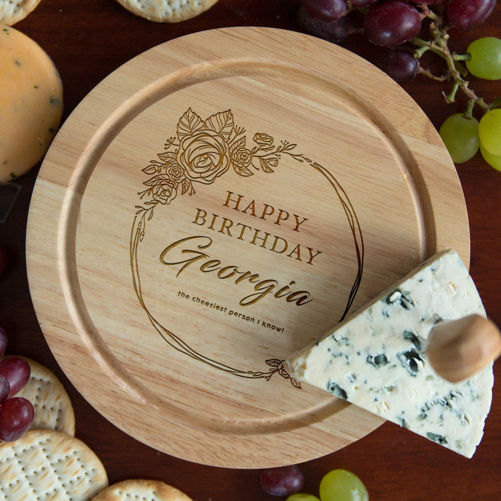 Personalised Floral Happy Birthday Cheese Board And Knives Set