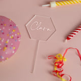 Personalised Name Hexagon Acrylic Cake Topper