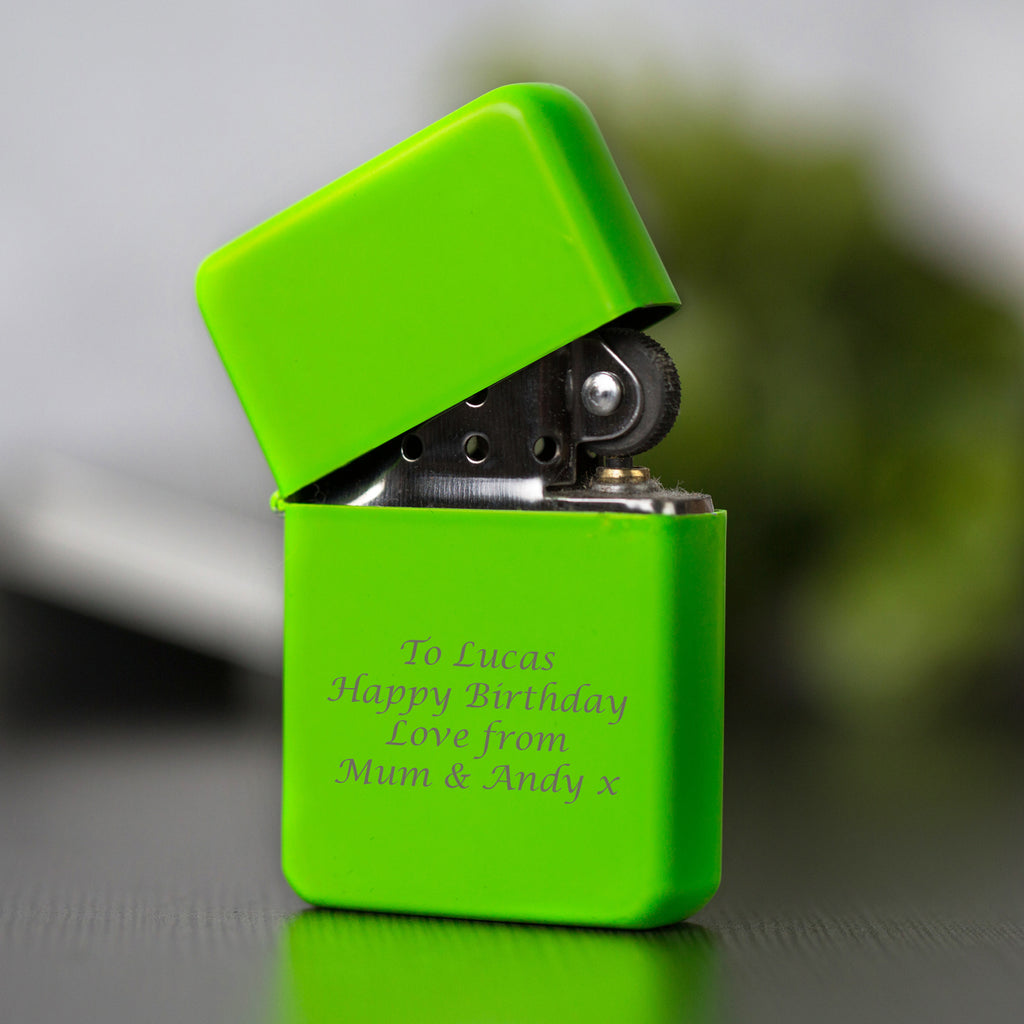 Personalised Message Neon Green Lighter & Gift Box