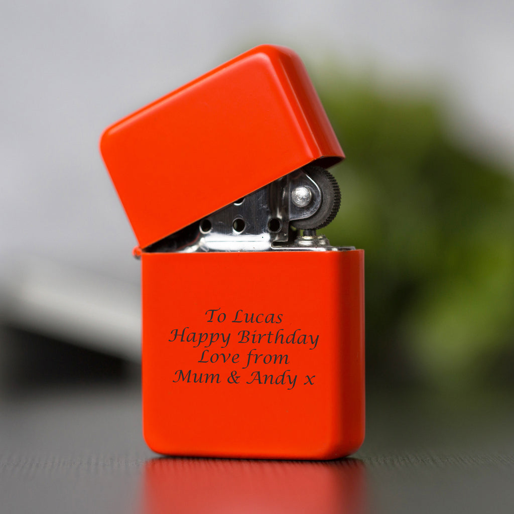 Personalised Message Neon Orange Lighter & Gift Box