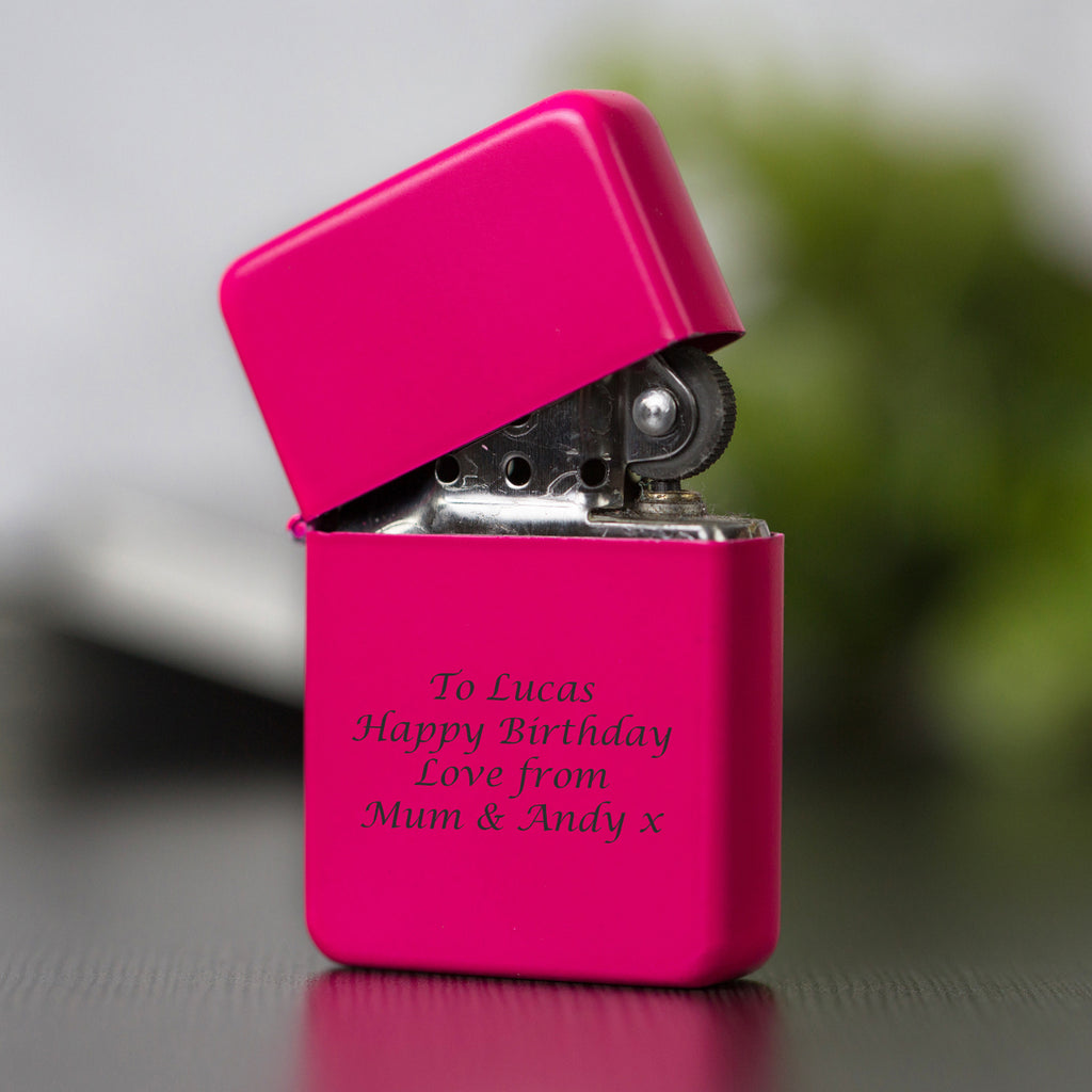 Personalised Message Neon Pink Lighter & Gift Box