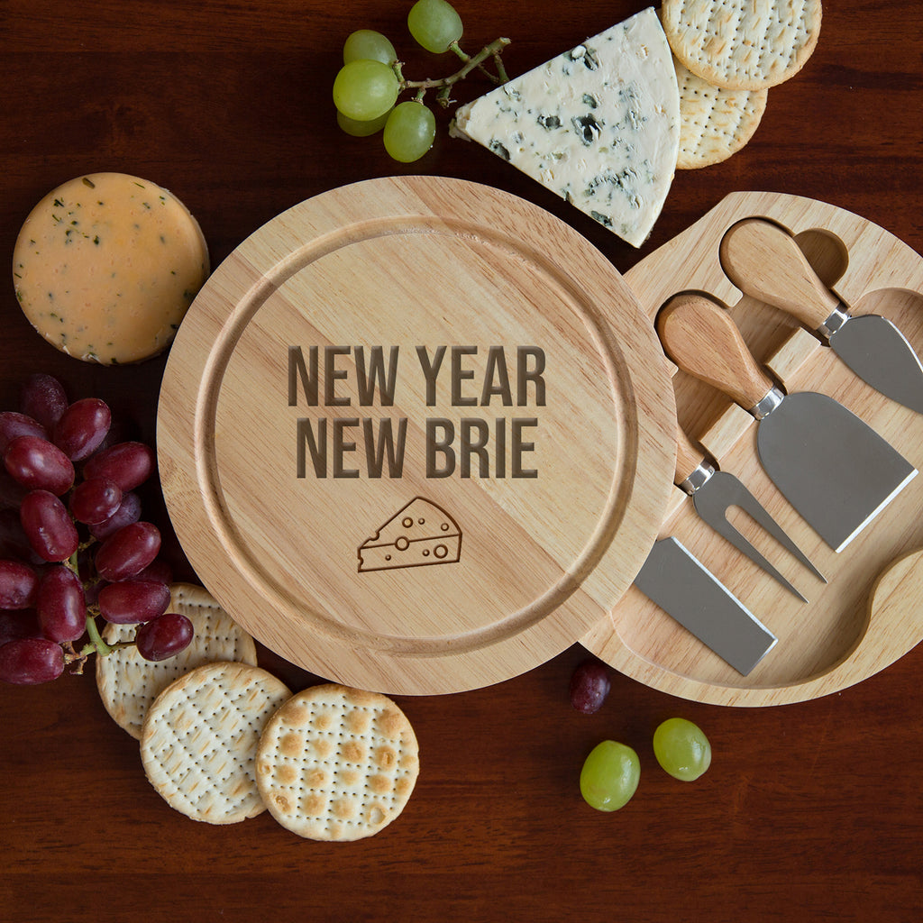 New Year New Brie Cheese Board And Knives Set