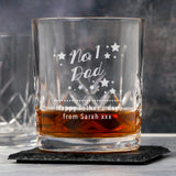 Personalised No.1 Dad Crystal Panel Glass Tumbler