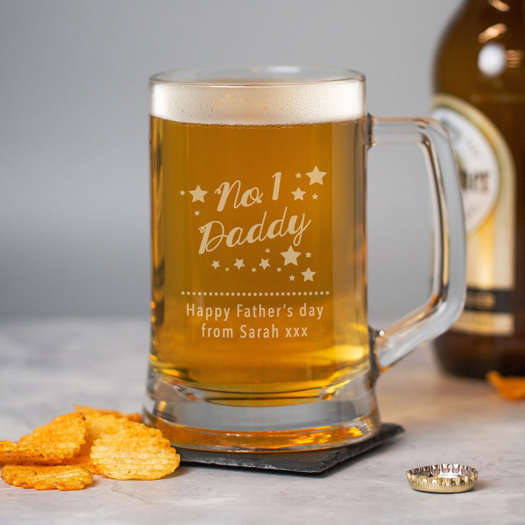 Personalised No.1 Daddy Glass Pint Stern Tankard