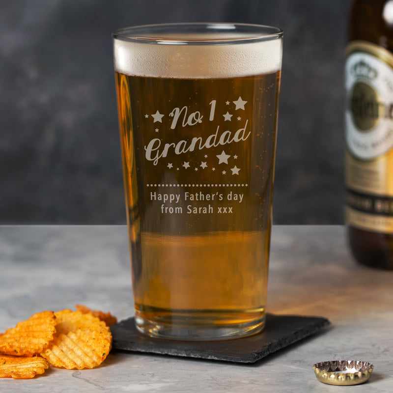 Personalised No.1 Grandad Pint Glass