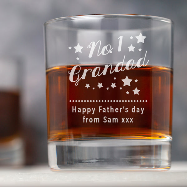 Personalised No.1 Grandad Glass Tumbler