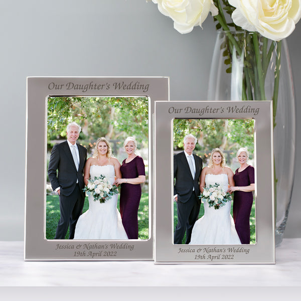 Personalised Silver 5x7 Our Daughter's Wedding Photo Frame