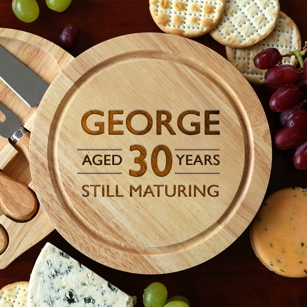 Personalised Aged Birthday Cheese Board And Knives Set