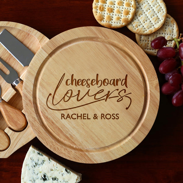 Personalised Cheese Board Lovers And Knives Set