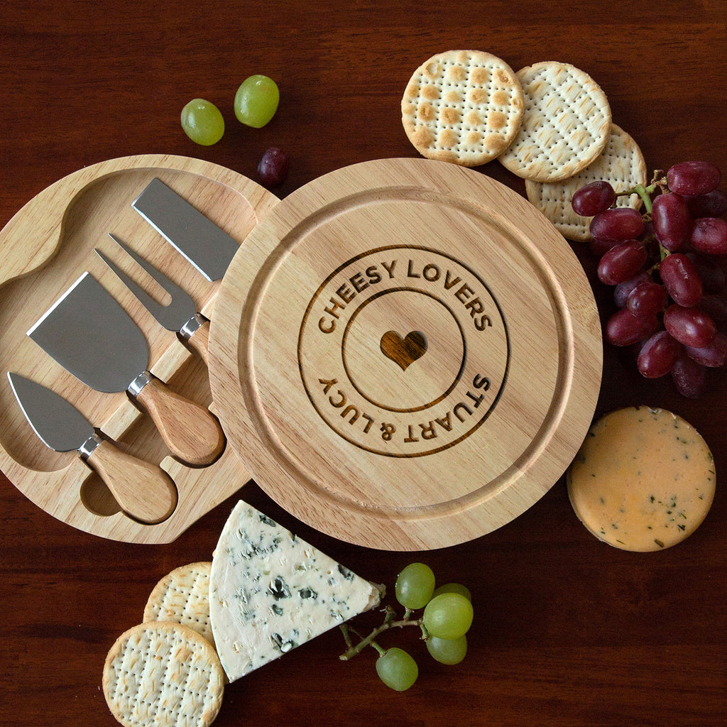 Personalised Cheesy Lovers Cheese Board And Knives Set