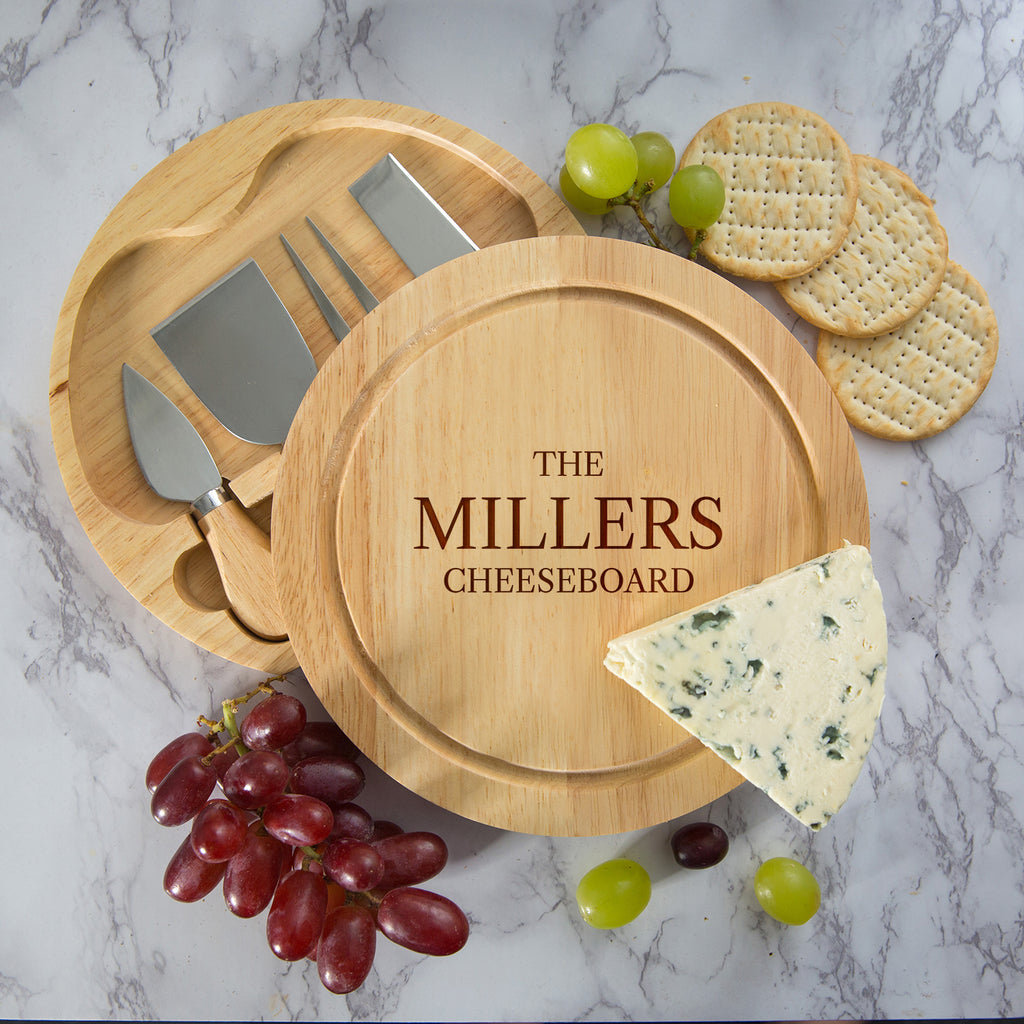Personalised Family Cheese Board And Knives Set