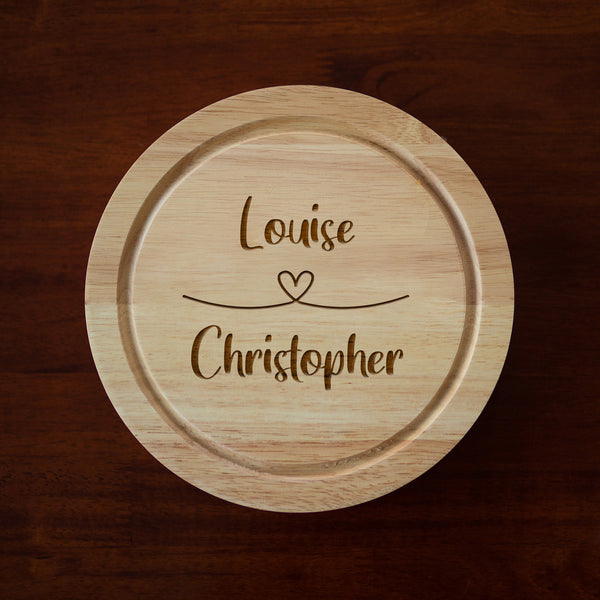 Personalised Heart Loop Cheese Board And Knives Set