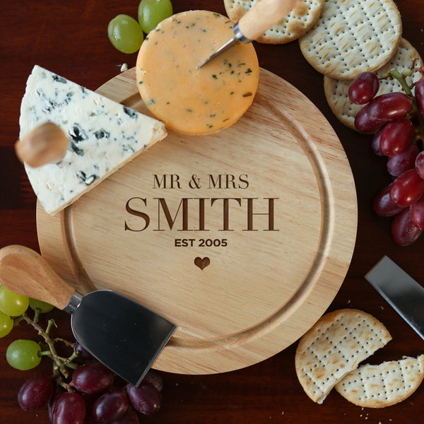 Personalised Mr & Mrs Cheese Board And Knives Set