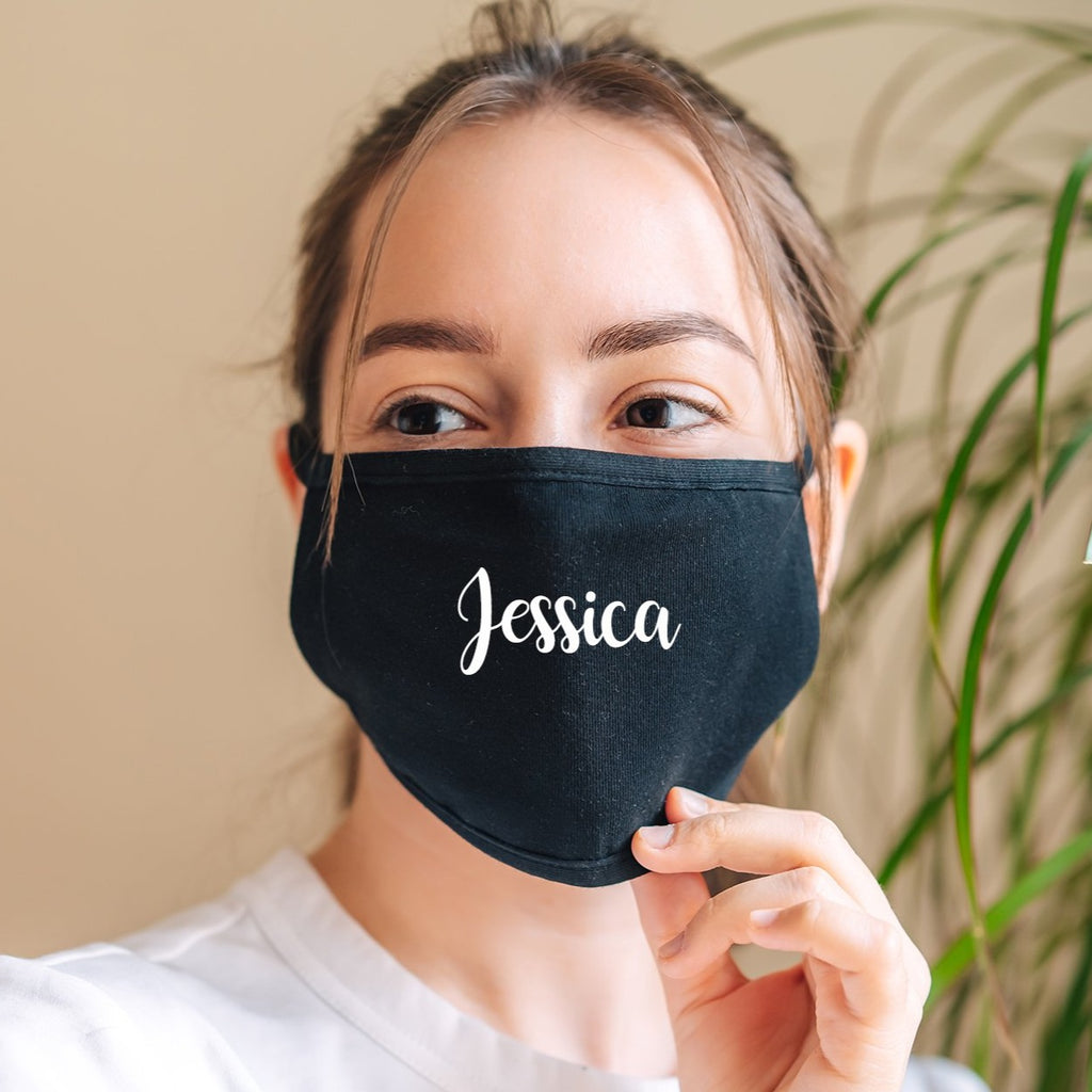 Personalised Name Black Face Mask