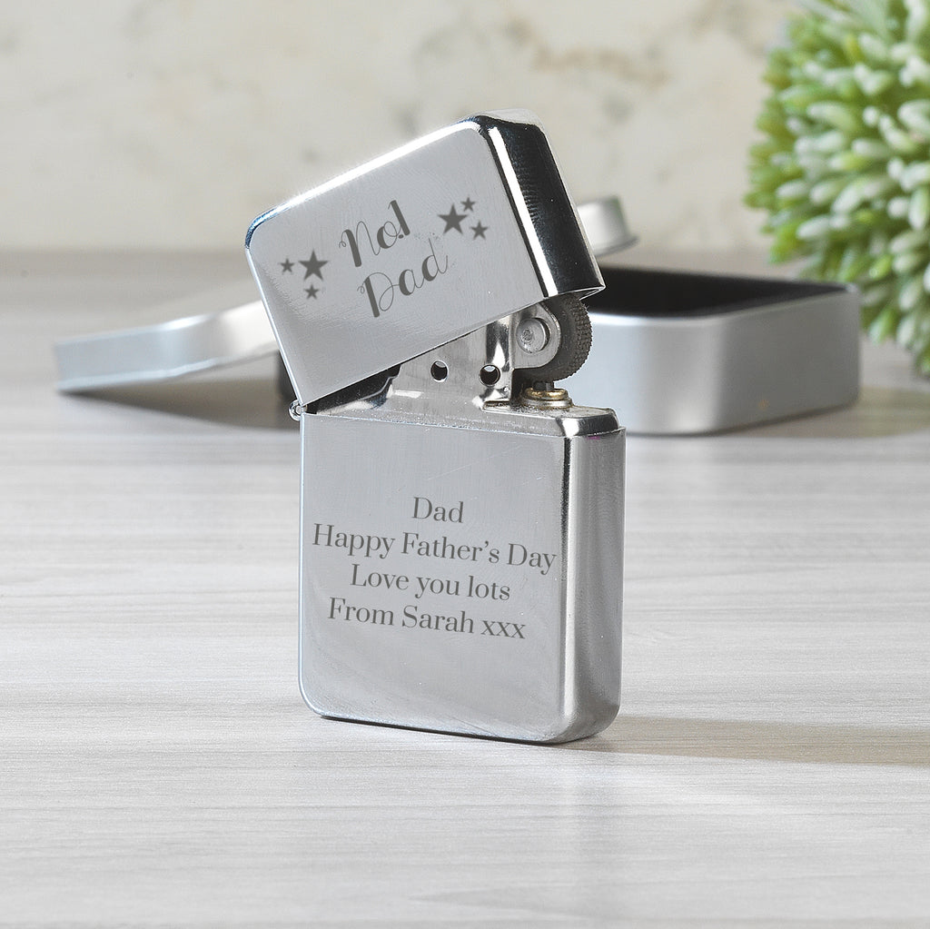 Personalised No.1 Dad Silver Lighter & Gift Box