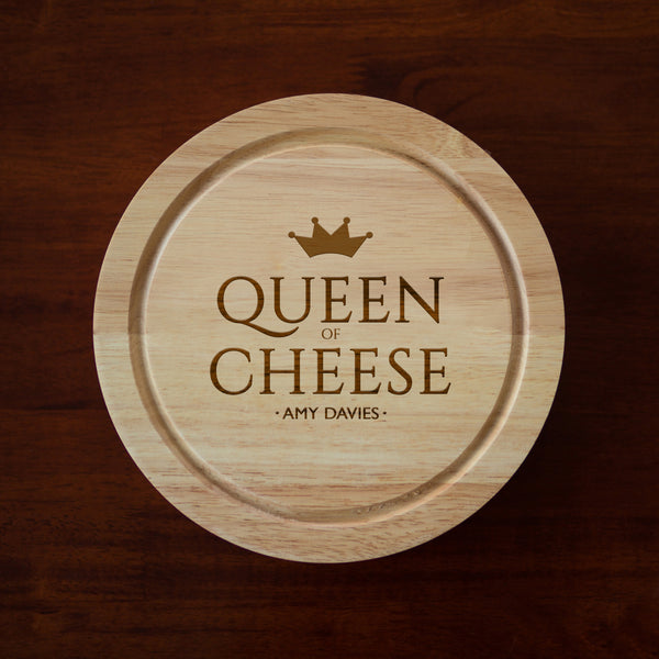 Personalised Queen Of Cheese Cheese Board And Knives Set