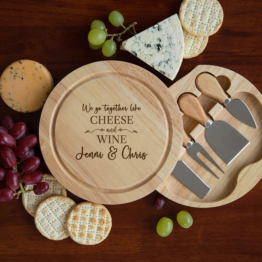 Personalised We Go Together Like Cheese & Wine Board And Knives Set