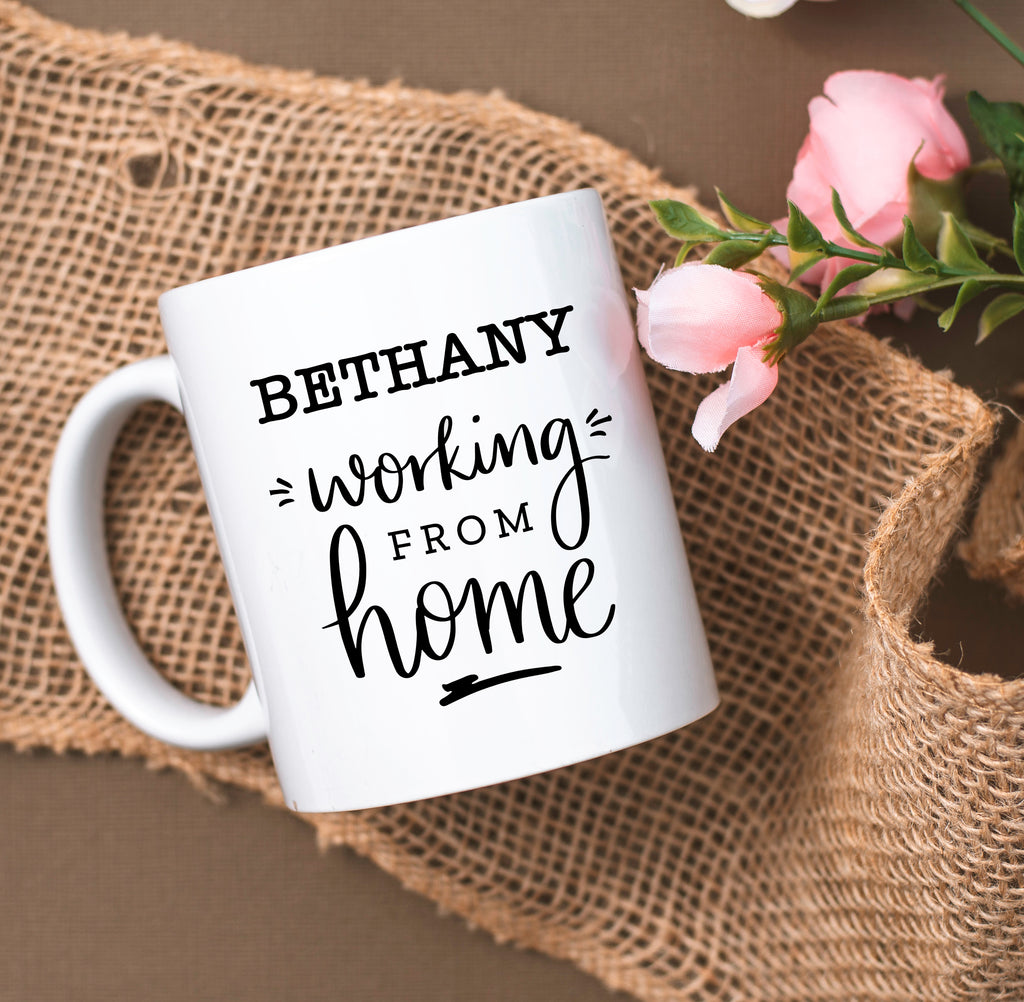 Personalised Working From Home White Mug