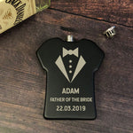 Personalised 6oz Black Father Of The Bride Shirt Wedding Hip Flask