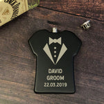Personalised 6oz Black Groom Shirt Wedding Hip Flask