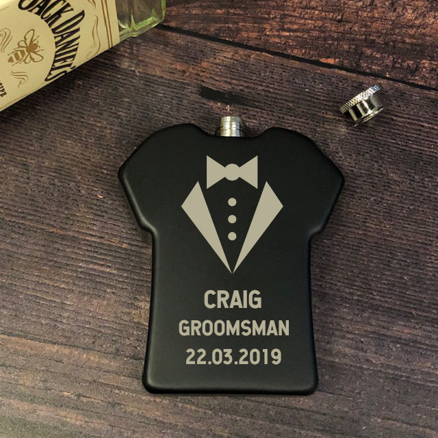 Personalised 6oz Black Groomsman Shirt Wedding Hip Flask