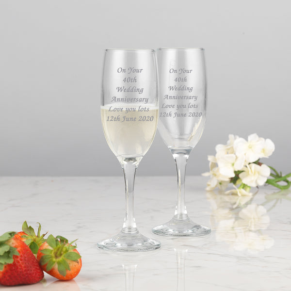 Personalised Any Message Champagne Flutes and Gift Box Set
