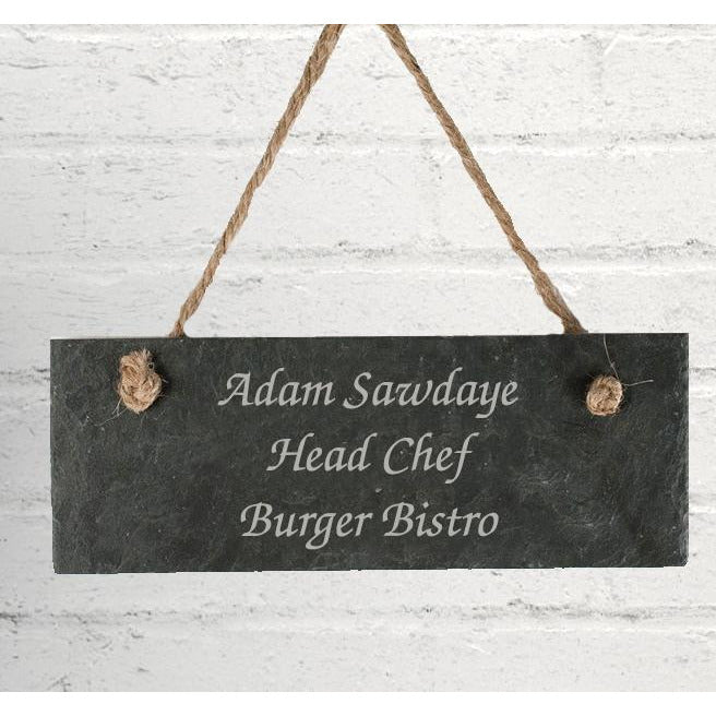 Personalised Any Message Hanging Slate Sign