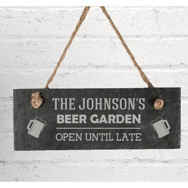 Personalised Beer Garden Hanging Slate Sign