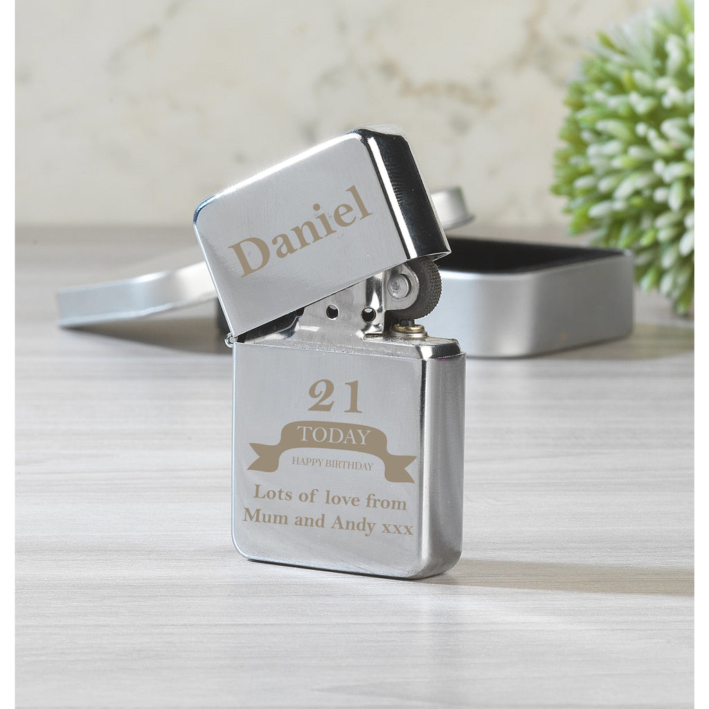 Personalised Birthday Silver Lighter & Gift Box