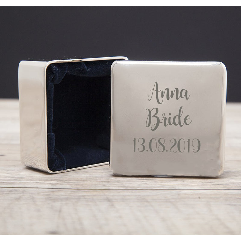 Personalised Bride Wedding Square Trinket Box