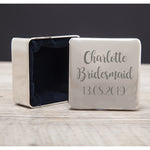 Personalised Bridesmaid Wedding Square Trinket Box