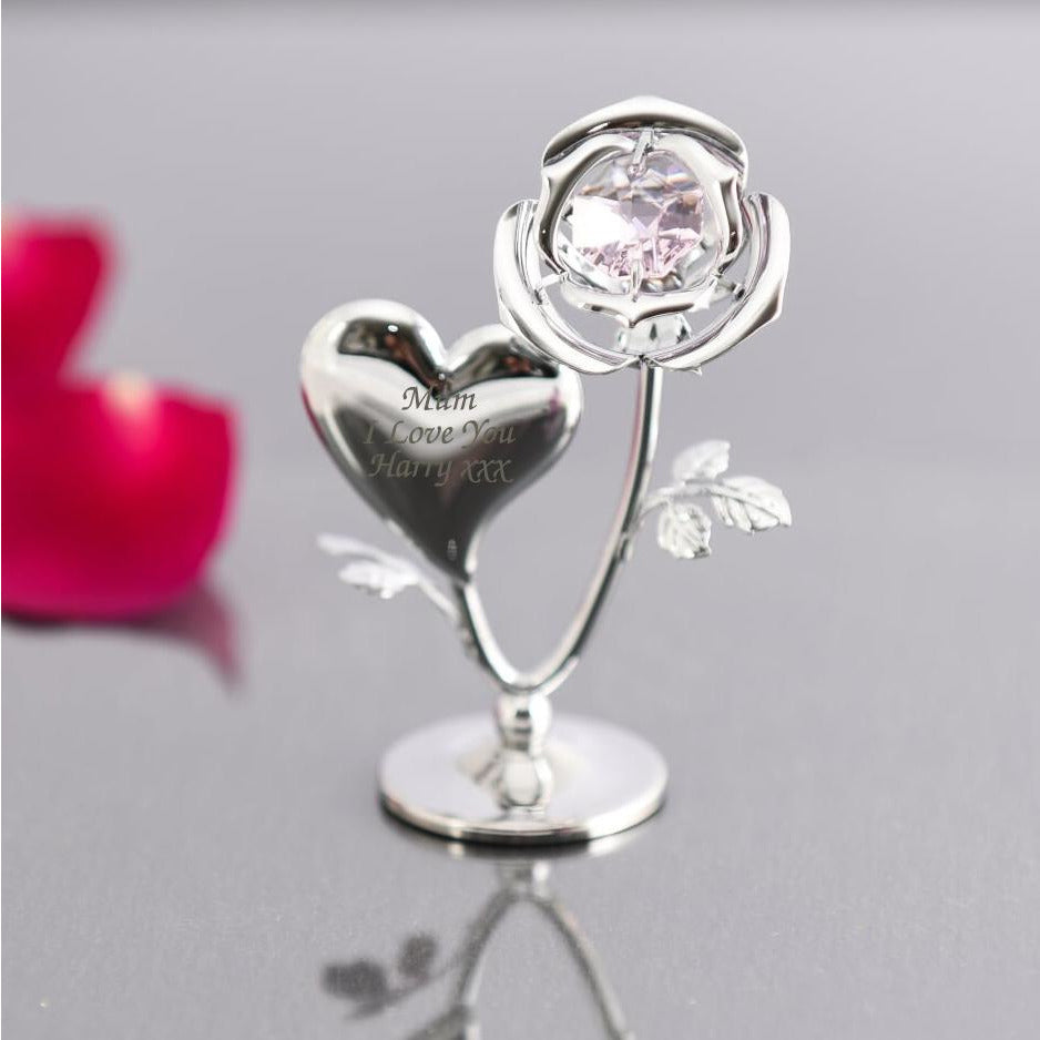 Personalised Crystocraft Rose & Heart Ornament