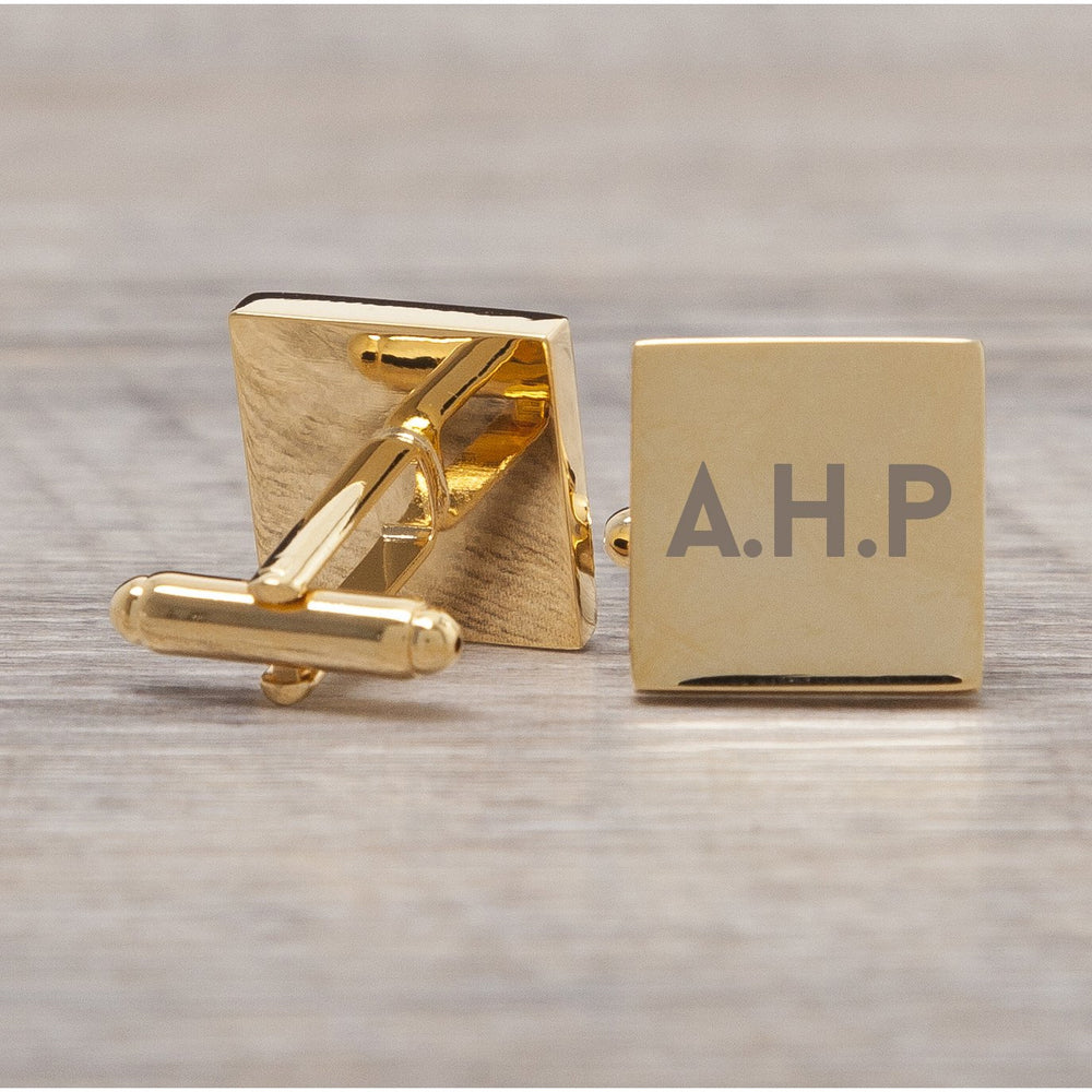 Personalised Gold Plated Square Initials Cufflinks
