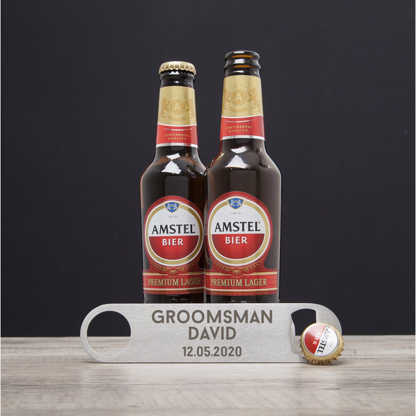 Personalised Groomsman Silver Bar Blade Bottle Opener