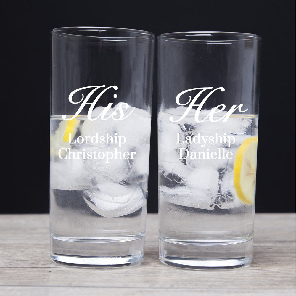 Personalised His And Her Hi Ball Glasses Set