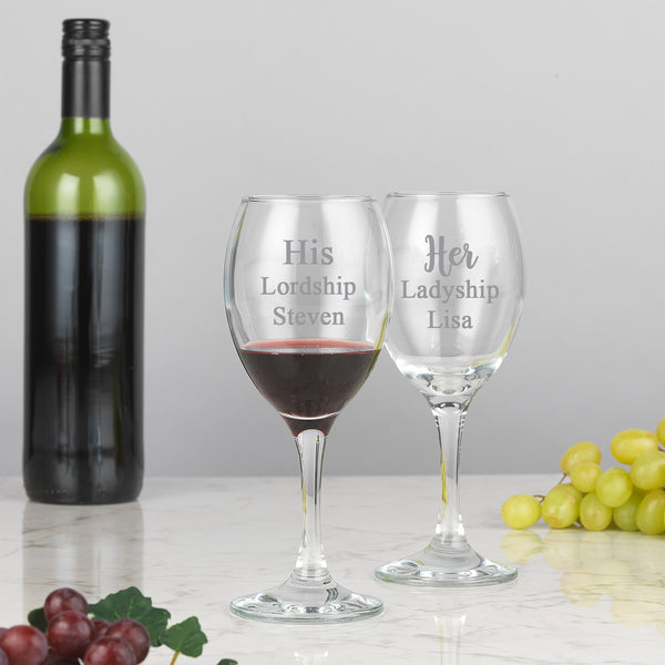 Personalised His & Her Wine Glasses & Gift Box Set