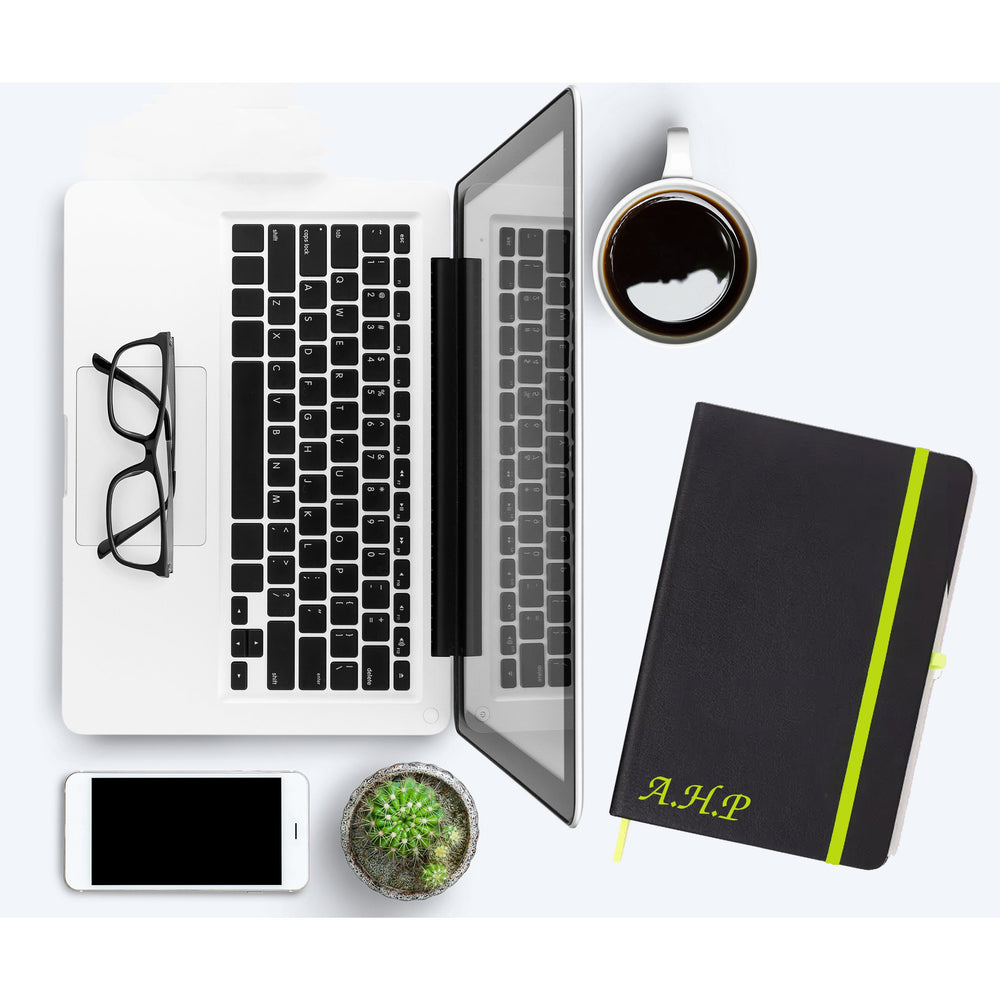 Personalised Initials Green PU Leather Notebooks